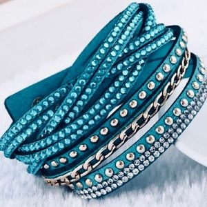 Vegan Leather Teal Snap Closure Wrap Bracelet